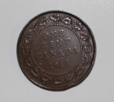 1913 Canada Copper One Large Cent Penny Circulated Canadian Coin