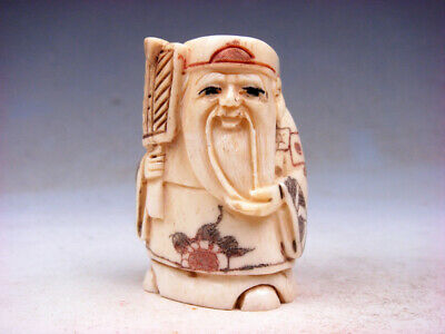Japanese Highly Detailed Hand Carved Netsuke Old Man Holds Fan #07011901