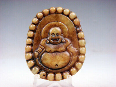 Vintage Nephrite Jade Hand Carved *Big Belly Laughing Buddha* Pendant #03231911