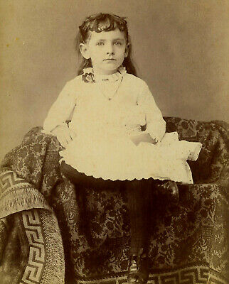 Antique Photo Cabinet Card BEAUTIFUL LITTLE GIRL FASHION by PATTERSON MACOMB