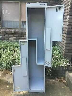Lockers  -  2 door w/Key  -  Comm Quality by PRECISION  -  Grey  -  vgc
