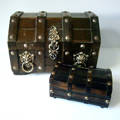 2x VINTAGE PIRATE TREASURE CHEST WOODEN JEWELLERY BOXES Plush Lined