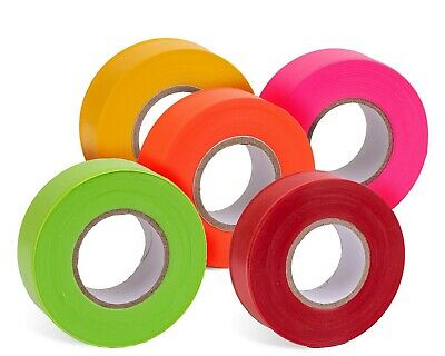 AdirPro Fluorescent Flagging Marking Tape 150 ft X 1 inch Wide (12 Pack)