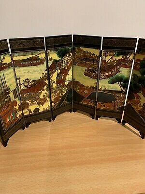 Old Chinese Lacquer Desk Screen Fold Out Art Work