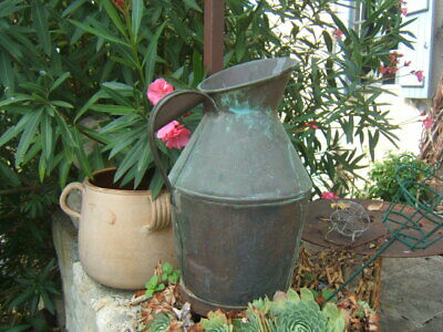 very RARE HUGE ANTIQUE FRENCH COPPER CONICAL WATERING CAN patina Ca1900