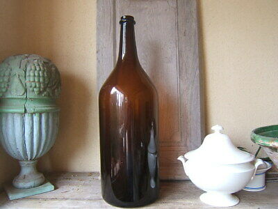 ANTIQUE very  HUGE FRENCH BLOWN MOLDED AMBER GLASS DEMIJOHN Carboy 19th Ca 1900