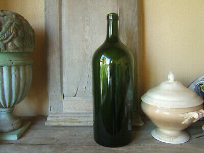 ANTIQUE HUGE FRENCH BLOWN MOLDED DARK GREEN GLASS DEMIJOHN Carboy 19th Ca 1900