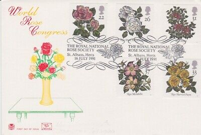 Gb Stamps First Day Cover 1991 Roses St Albans Rares Collection