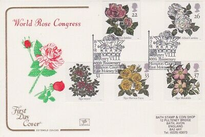 Gb Stamps First Day Cover 1991 Roses Hampton Court Rares Collection