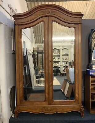 Antique French Walnut Armoire Wardrobe With Mirrors And Hanging Rail