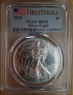2020  $1 American Silver Eagle PCGS MS70 First Strike - Blue Flag Label