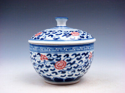 Blue&White Glazed Porcelain Ox-Blood Red Floral Painted Lidded Tea Cup #02152004