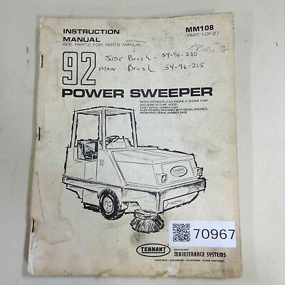 TENNANT Parts Manual MM108 Used #70967