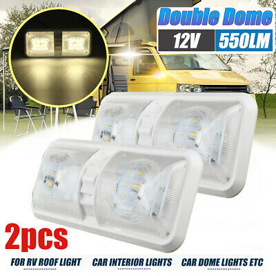 2x12V 48 LED Ceiling Roof Light for Trailer Camper Boat Interior Dome Cabin Lamp