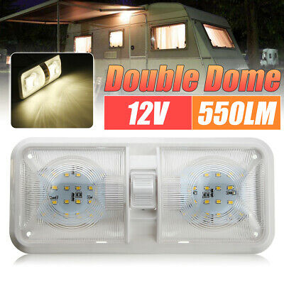12V 48 LED Double Dome Roof Ceiling Interior Light for RV Boat Camper Trailer AU