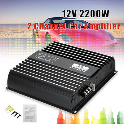 Car Audio Power Amplifier Bass Box Amp Under Seat Subwoofer 2 Channel 2200W 12V