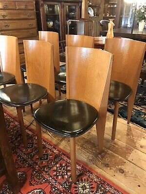 Set of 6 Stunning CALLIGARIS Italian Mid Century Leather & Wood Dining Chairs