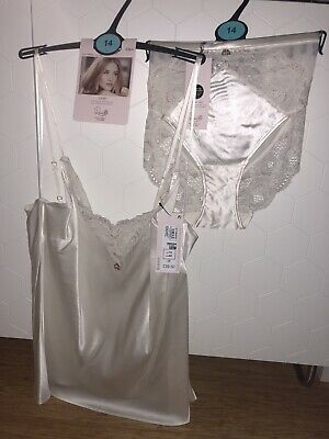 M /& S ROSIE FOR AUTOGRAPH SILK /& FRENCH  LACE PRINT OYSTER SWING CAMISOLE