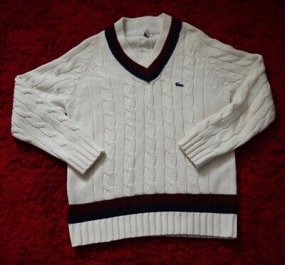 Vintage Izod Men's V Neck Cable Knit Tennis Sweater Cream w/Blue and Burgundy