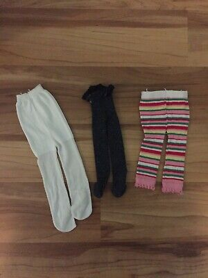 3 Pairs of American Girl Doll Tights - Black, White and Striped