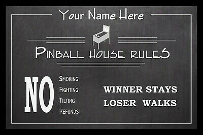 Personalized Vintage Chalkboard Look Pinball House Rules Poster - Framed