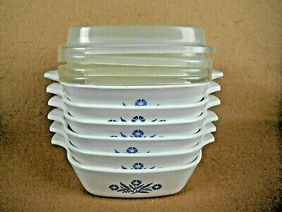 Corning Ware Blue Corn Flower Set of 6 Petite Pans with 4 Plastic Lids P-41-B