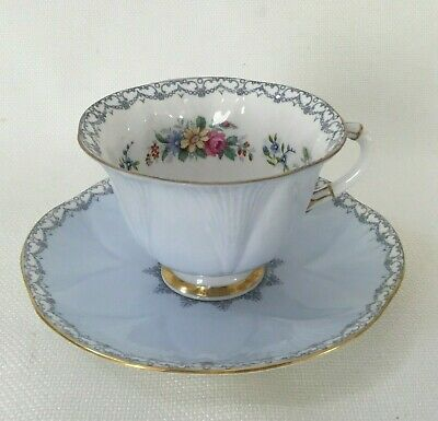 Shelley China  Pale Blue Crochet Dainty Shape Cup & Saucer