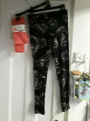 NEW Old Navy Woman's Black Print/Pink NWT Leggings pants Size S Small 2 Pair Lot