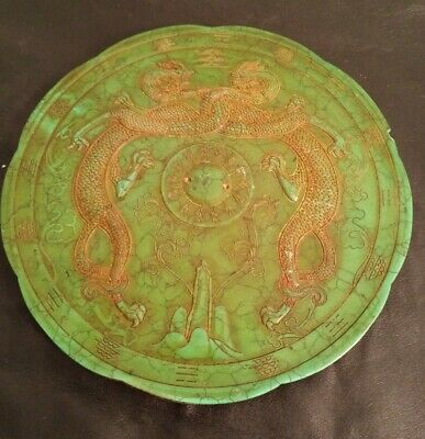#19c Chinese natural Stone Rusty Jade jadeite deep carved Jade dragon tray Jade