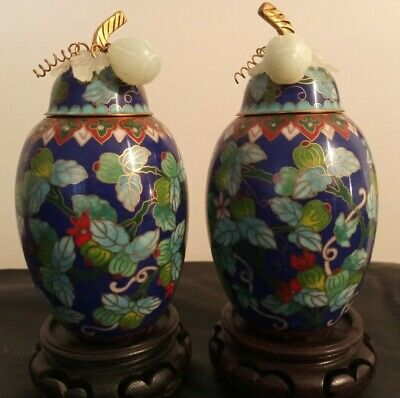 #superb 18c magnificent Chinese pair White Jade CLOISONNE ENAMEL guilted bronze