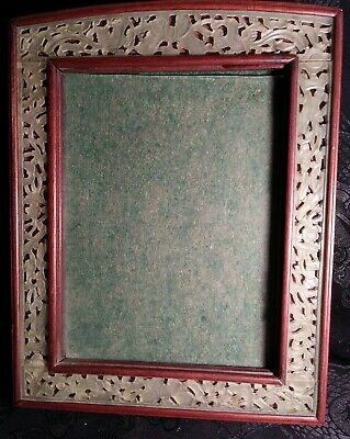 #1800 ANTIQUE Chinese carved ICY Jade QING Dynasty JADEITE mahogany photo frame