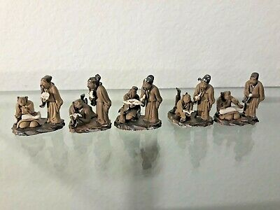#ANTIQUE group of 11 CHINESE CARVED Miniature statue LOT FIGURE Pottery VTG RARE