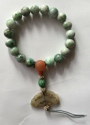 Chinese Jadeite Carved Player Beads with a Jade Piece
