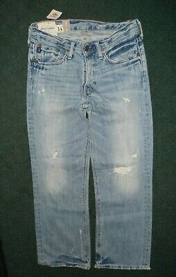 New Abercrombie & Fitch KILBURN LOW RISE BOOT Distressed Jeans Boys Size 14 NEW