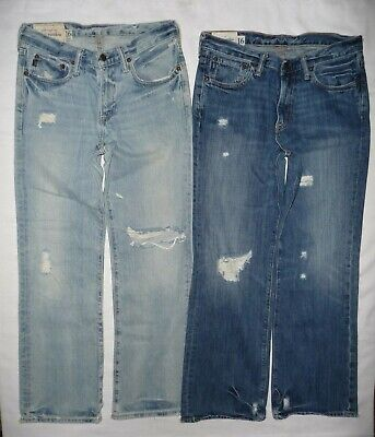 Lot of 2 Abercrombie & Fitch KILBURN LOW RISE BOOT Distressed Jeans Boys Size 16