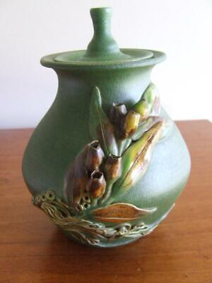Australian Hand Made 'Sayers' Lidded Pottery Pot with Gumnuts and Gum Leaves
