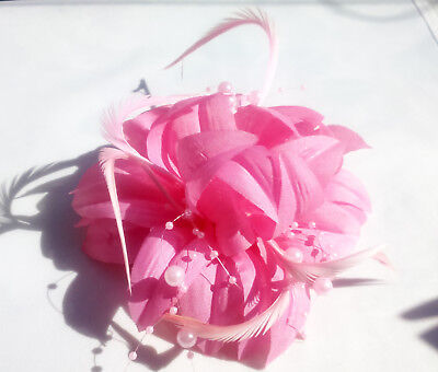 Pink Fabric Flower Feather and Bead Fascinator Wedding Races Hair Clip Corsage