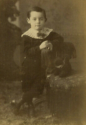 Antique Photo Cabinet Card HANDSOME YOUNG BOY FASHION TOY by DAME PICTON ONTARIO