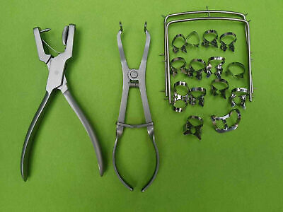 NEW  Rubber Dam Starter Kit Of 18 Pcs Frame Punch clamps Dental Instruments