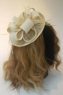 Cream fascinator with clip fitting for wedding, races, new