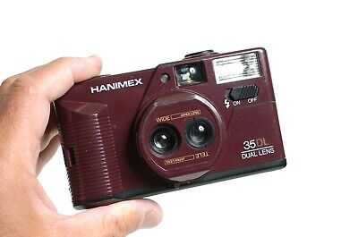 HANIMEX 35DL Dual Lens 35 mm Point and shoot compact camera. Very Lomographic!