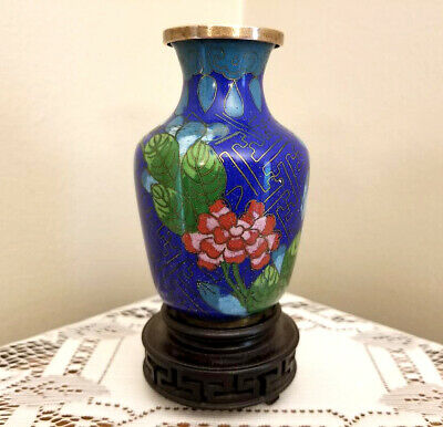 """Antique Chinese Blue and Red Floral Cloisonné Vase 3.75"""" China"""