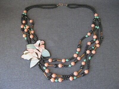Vintage Lee Sands marquetry mother of pearl inlaid flower colors beads necklace