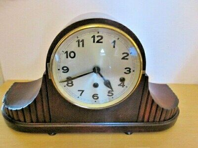 An Art Deco Mahogany Napoleon Quarter Chime Westminster Mantel Clock