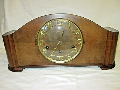 A Junghans Art Deco Wesminster Quarter Chime Mantel Clock