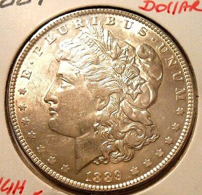 1889 Morgan Silver Dollar Nice High Grade Circulated Coin With Reverse Scratch#5