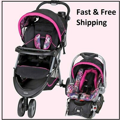BABY STROLLER + CAR SEAT Combo Walking Girl Toddler Travel System Infant Safety