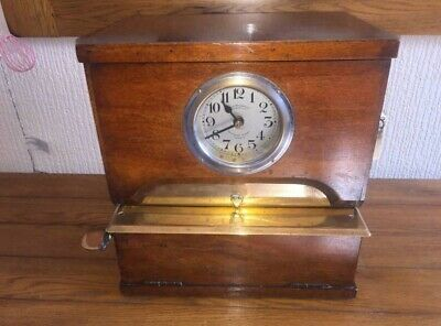 Vintage 1920's, Time Recorders Of Leeds, Oak Cased Table Top Clocking In Clock
