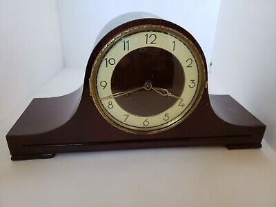 Vintage Wooden Mantle Clock Made in Germany w/Key Chimes Tested..Works! Euramoa