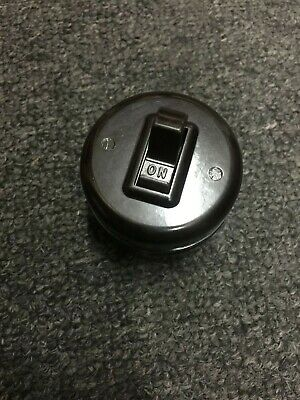 Vintage Leviton Brown Bakelite Round - Single-Pole Switch -